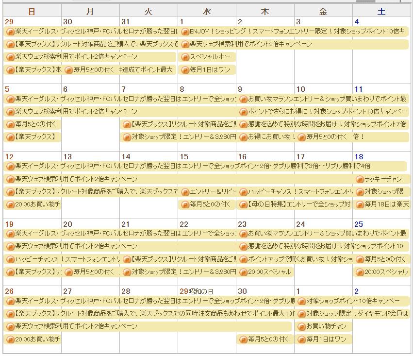 ポイントカレンダー