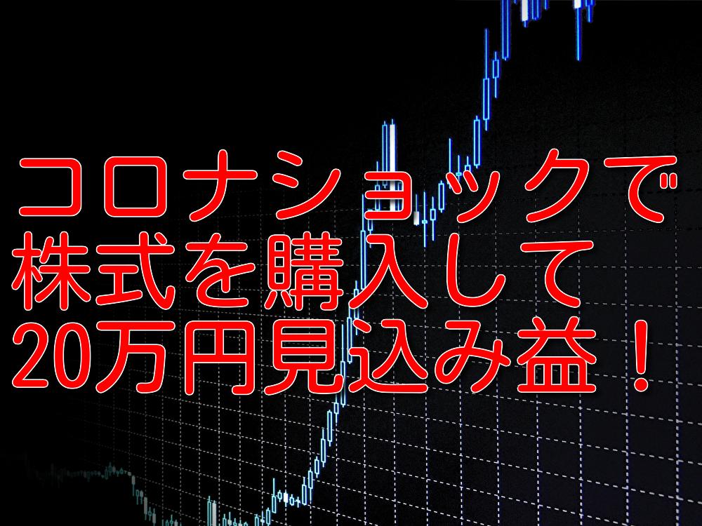 コロナショックで株式を購入して20万円見込み益をだした!